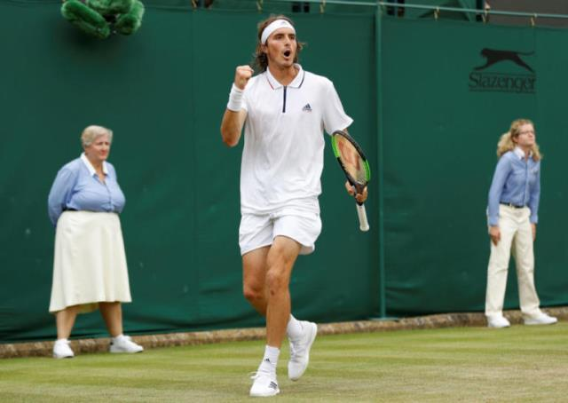 Tennis - Wimbledon - All England Lawn Tennis and Croquet Club, London, Britain - July 4, 2018. Stefanos Tsitsipas of Greece reacts during his second round match againstb Jared Donaldson of the U.S.  REUTERS/Peter Nicholls