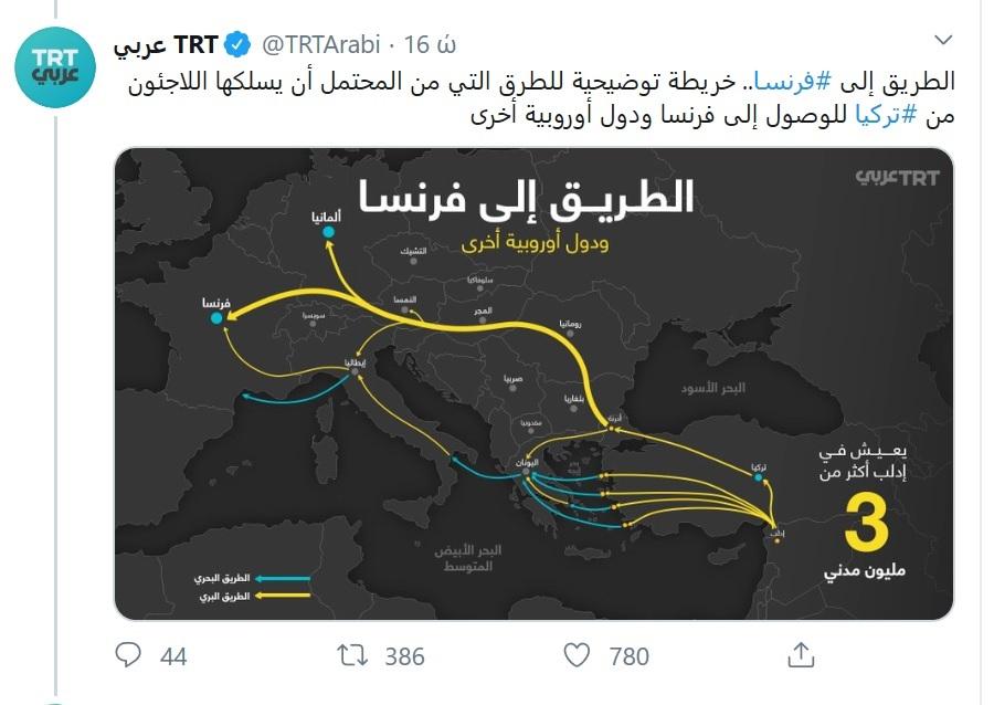 Τουρκική τηλεόραση: Χάρτης με «οδηγίες» για τις διαδρομές προς Ελλάδα και Ευρώπη