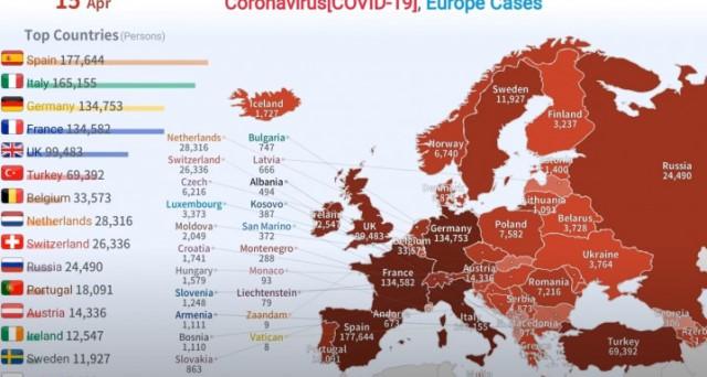 Πώς εξαπλώθηκε ο κορωνοϊός στην Ευρώπη από τις 24/01 μέχρι την Μ. Τετάρτη(Βίντεο)