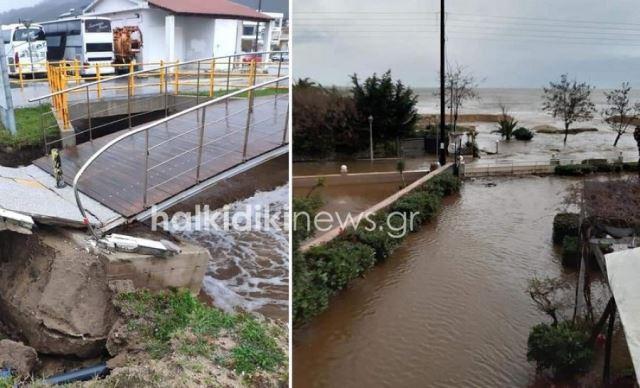 Αποκλεισμένοι κτηνοτρόφοι και πλημμυρισμένα σπίτια στη Συκιά Χαλκιδικής(Εικόνες&Βίντεο)