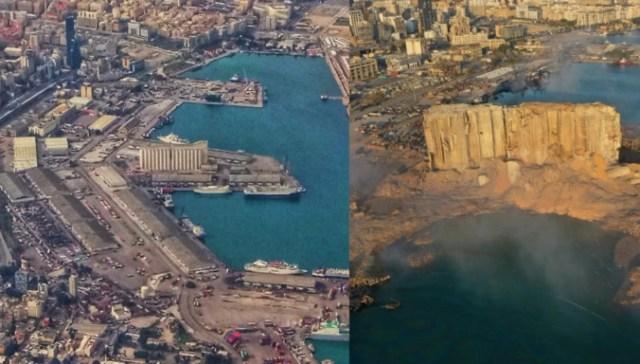 Βηρυτός: Εξαφανίστηκε μεγάλο κομμάτι στεριάς από την τρομακτική έκρηξη -Δείτε το πριν και το μετά(Εικόνες)