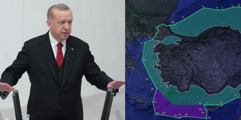 Απίστευτη πρόκληση! Η Τουρκία με νέο χάρτη διεκδικεί το μισό Αιγαίο (Εικόνα)