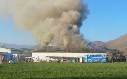 Τρίκαλα: Στάχτη το εργοστάσιο της εταιρείας «Υφαντής» – Νέες εικόνες από τη φωτιά που κατέστρεψε τα πάντα