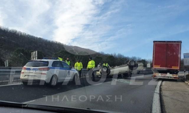Ανατροπή οχήματος στην Εθνική Οδό Σερρών – Θεσσαλονίκης(Εικόνες)